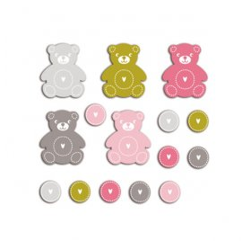 Die-cuts 'Toga' 20 Formes Nounours Rose/Vert/Taupe