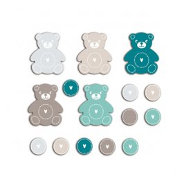Die-cuts 'Toga' 20 Formes Nounours Bleu/Taupe