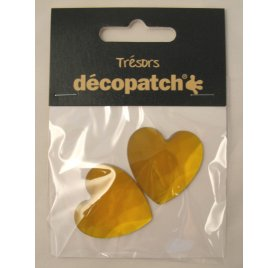 Lot de 2 Cabochons Coeurs 'Decopatch' Orange 3 cm