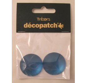 Lot de 2 Cabochons 'Decopatch' Bleu 3 cm