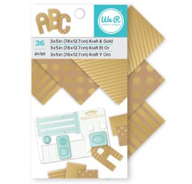 Bloc de papiers 7.6 x 12.7  'We R Memory Keepers - ABC' Kraft et Or