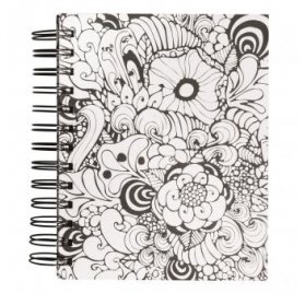 Carnet spiralé à colorier 'Rayher - Tangle' Memory Journal Flora Blanc 16x18 cm 110g