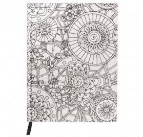 Carnet à colorier 'Rayher - Tangle' Notebook Flora Blanc 16x21 cm 110g
