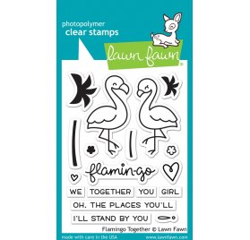 Tampons transparents 'Lawn Fawn' Flamingo Together (Flamants roses)