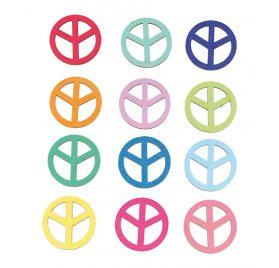 Autocollants en bois 'Artemio - Flower Power' Peace & Love Qté 12