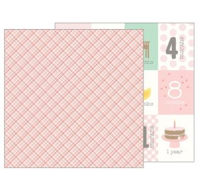 Papier double 30x30 'Pebbles - Lullaby' Baby Girl Plaid