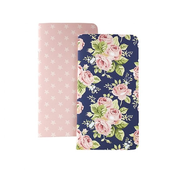 Lot de 2 carnets 'Webster's Pages - Color Crush' Travelers Notebook Etoiles/Fleurs