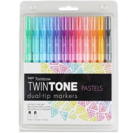 Lot de 12 stylos à double pointe Twintone 'Tombow' Pastels