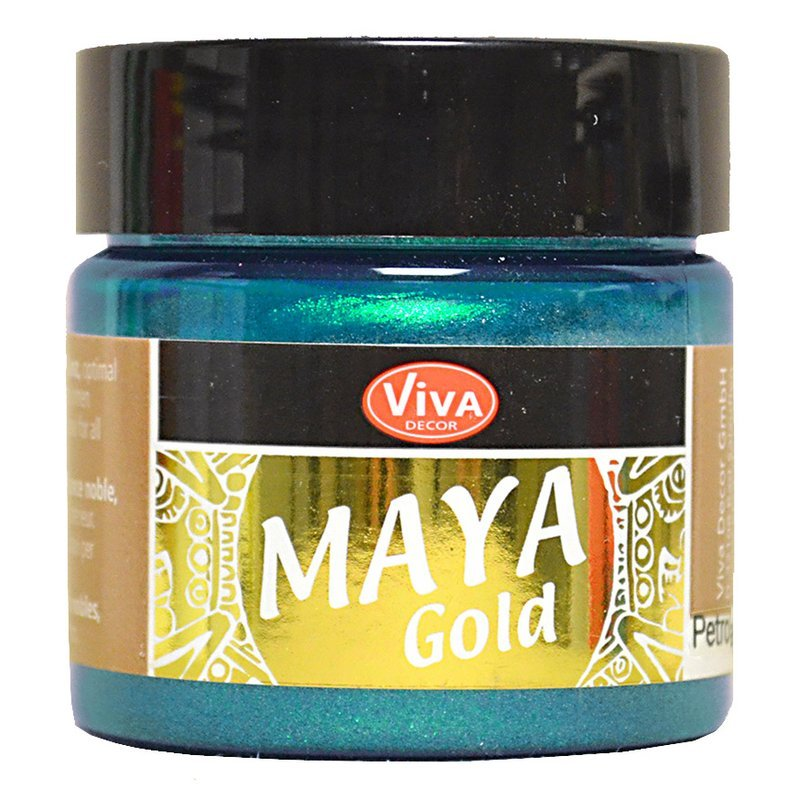 peinture m tallis e 39 viva decor maya gold 39 p trole 45 ml la fourmi creative. Black Bedroom Furniture Sets. Home Design Ideas
