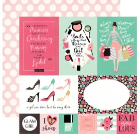 Papier double 30x30 'Echo Park Paper - Fashionista' Multi Journaling Cards
