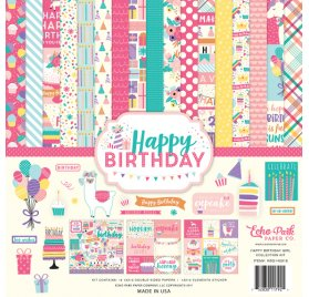 Assortiment 30x30 'Echo Park Paper - Happy Birthday' Qté 13