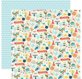 Papier double 30x30 'Echo Park Paper - Happy Birthday' Party Fun