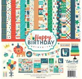 Assortiment 30x30 'Echo Park Paper - Happy Birthday Boy' Qté 12