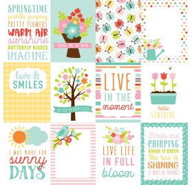 Papier double 30x30 'Echo Park Paper - Hello Spring' 3X4 Journaling Cards