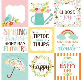 Papier double 30x30 'Echo Park Paper - Hello Spring' 4 X 4 Journaling Cards