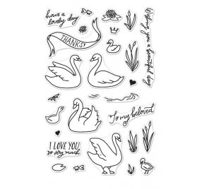 28 Tampons transparents 'Hero Arts' Swans and Cattails