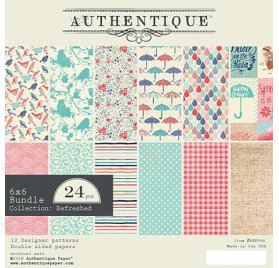 Assortiment de 24 papiers 15x15 'Authentique - Refreshed'