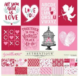 Kit de 12 papiers doubles 30x30 et 1 planche d'autocollant 'Authentique - Sweetheart'