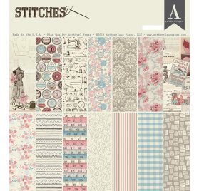 Kit de 16 papiers doubles 30x30 et 1 planche d'autocollant 'Authentique - Stitches'