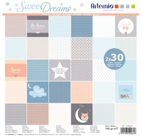 Assortiment de 60 papiers 30x30 'Artemio - Sweet Dreams'