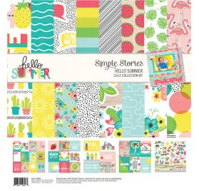 Assortiment de 12 papiers doubles et 1 planche d'autocollants 30x30 'Simple Stories - Hello Summer'