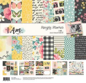 Assortiment de 12 papiers doubles et 1 planche d'autocollants 30x30 'Simple Stories - I Am...'