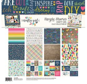 Assortiment de 6 papiers doubles et 1 planche d'autocollants 30x30 'Simple Stories - Crafty Girl'