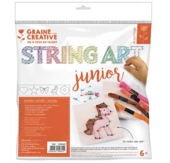 Kit Tableaux Junior 'Graine Créative by PW - String Art' Nature 10x10 cm