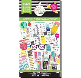 Bloc de 648 autocollants pour enseignant 'Me & My Big Ideas - The Happy Planner' Règle d'enseignant