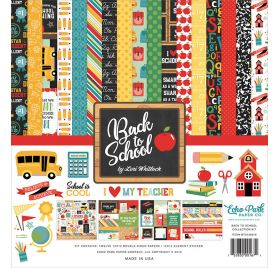 Assortiment de 12 papiers doubles et 1 planche d'autocollants 'Echo Park Paper - Back to School'