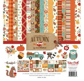 Assortiment de 12 papiers doubles et 1 planche d'autocollants 'Echo Park Paper - Celebrate Autumn'
