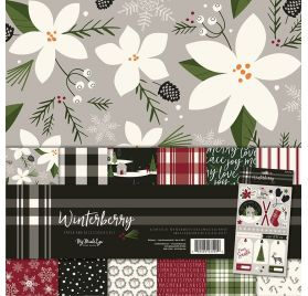 Assortiment de 6 papiers doubles 30x30 'My Mind's Eye - Winterberry'