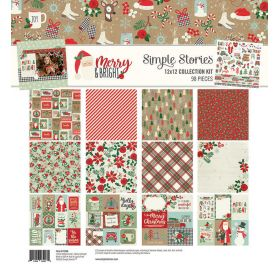 Assortiment de 12 papiers doubles 30x30 et 1 planche d'autocollants 30x30 'Simple Stories - Merry & Bright'