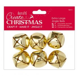 6 Grands grelots 'Docrafts - Create Christmas' Or 3.5x3 cm