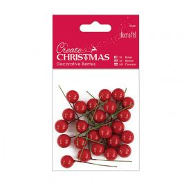 24 baies déco 'Docrafts - Create Christmas' Rouge 1 cm