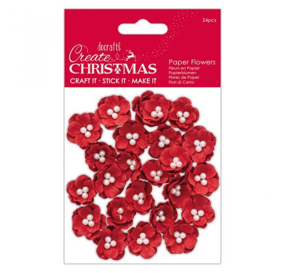 24 Fleurs en papier 'Docrafts - Create Christmas' Poinsettias rouges 2.5 cm