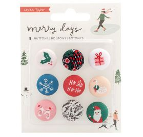 9 Boutons en tissu 'Crate Paper - Merry Days'