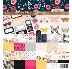 Assortiment de 12 papiers 30x30 et 16 autocollants 'Webster's Pages - Love is in the air '
