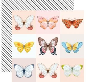 Papier double 30x30 'Webster's Pages - Love is in the air ' Butterfly