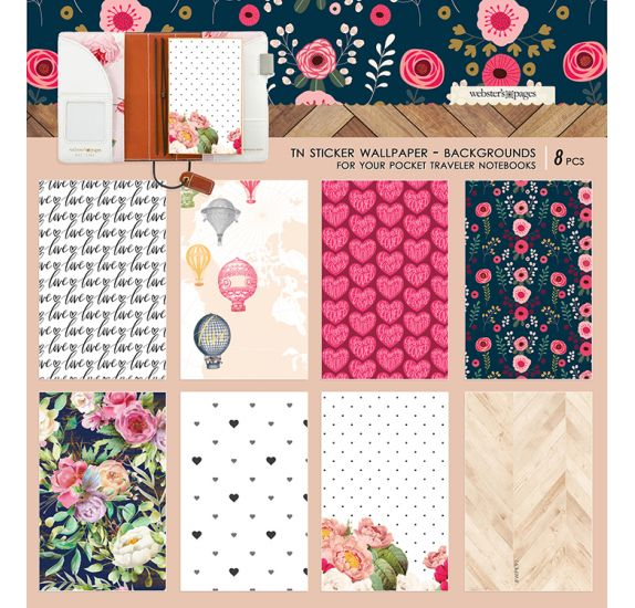 5 Autocollants pour couverture de carnet 'Webster's Pages' Wallpaper
