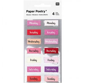 Autocollants 'Rico Design - Paper Poetry' Semaine rose