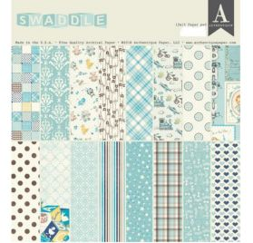 Assortiment de 16 papiers doubles 30x30 et 1 planche de die-cuts 'Authentique - Swaddle Boy'