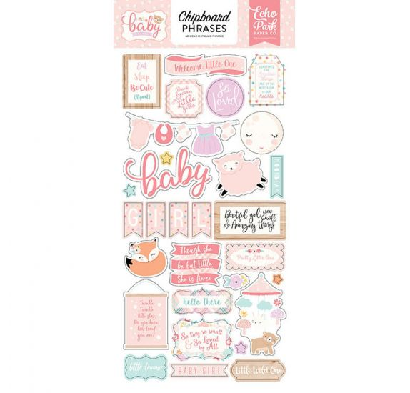 Chipboards autocollants 'Echo Park Paper - Hello Baby It's a girl' Phrases