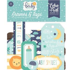 33 Die-cuts 'Echo Park Paper - Hello Baby It's a boy' Cadres et Tags