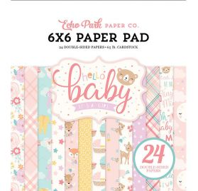 Assortiment de 24 papiers 15x15 'Echo Park Paper - Hello Baby It's a girl'