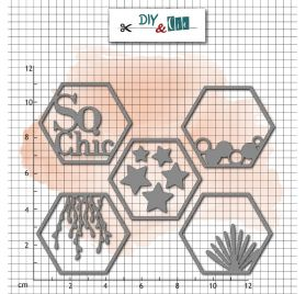 5 Dies / Matrices de découpe 'DIY & Cie - So Chic' Hexagones