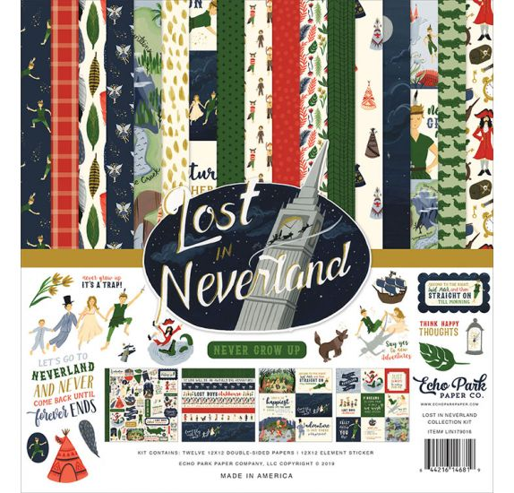 Assortiment de 12 papiers doubles et 1 planche d'autocollants 'Echo Park Paper - Lost In Neverland'