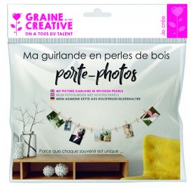 Kit Ma guirlande en perles de bois porte photo 'Graine Créative by PW' Kiwi et fuchsia