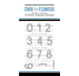 12 Tampons transparents 'Chou & Flowers - Carte Postale' Chiffres Mer