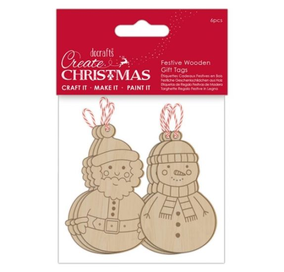 Lot de 6 suspensions en bois 'Docrafts - Create Christmas' Noël